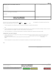 "Form CR-173 ""Order for Commitment (Sexually Violent Predator)"" - California"