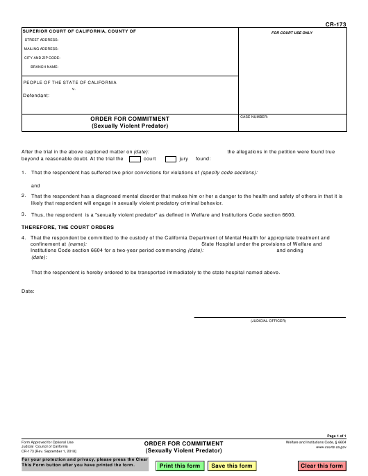 Form CR-173 Fillable Pdf