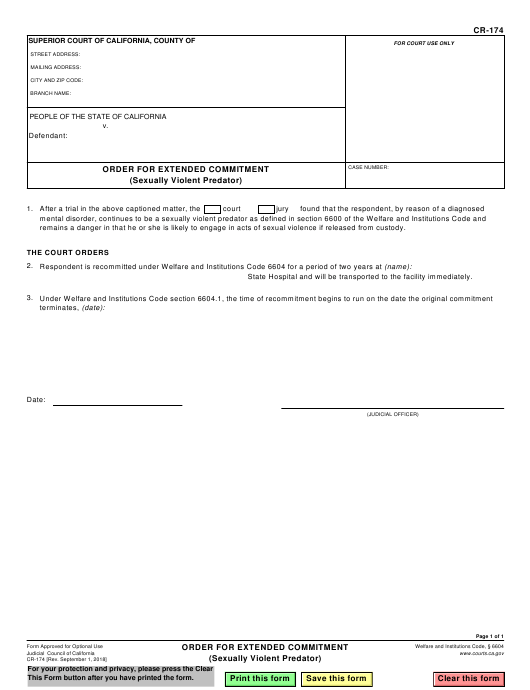 Form CR-174  Printable Pdf