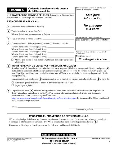 Formulario DV-900 S  Printable Pdf