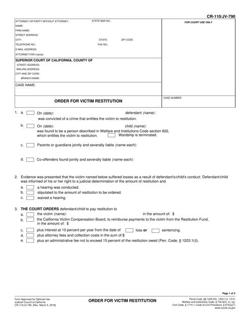 Form CR-110 (JV-790)  Printable Pdf