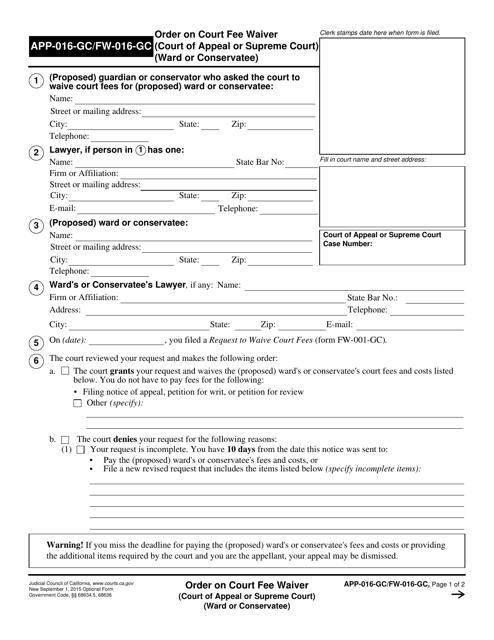 Form APP-016-GC  Printable Pdf