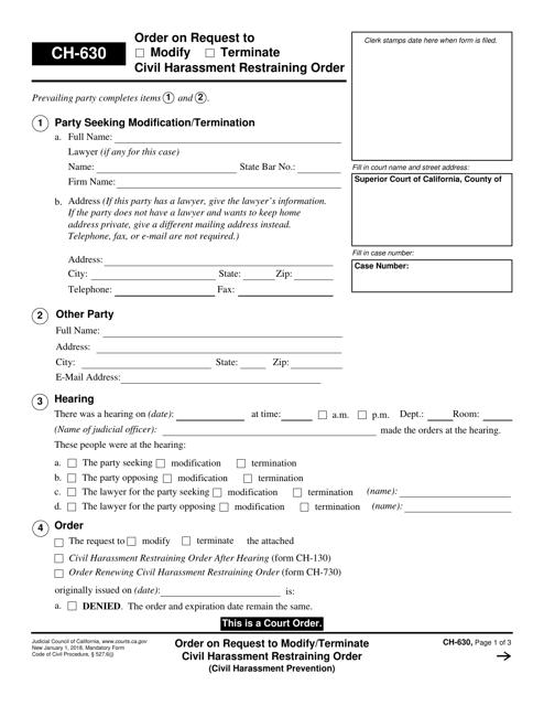 Form CH-630  Printable Pdf