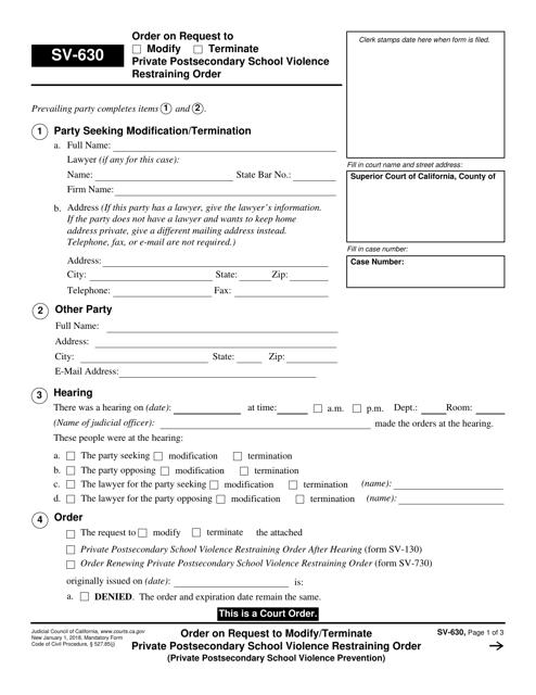 Form SV-630 Fillable Pdf