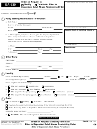 "Form EA-630 ""Order on Request to Modify/Terminate Elder or Dependent Adult Abuse Restraining Order"" - California"