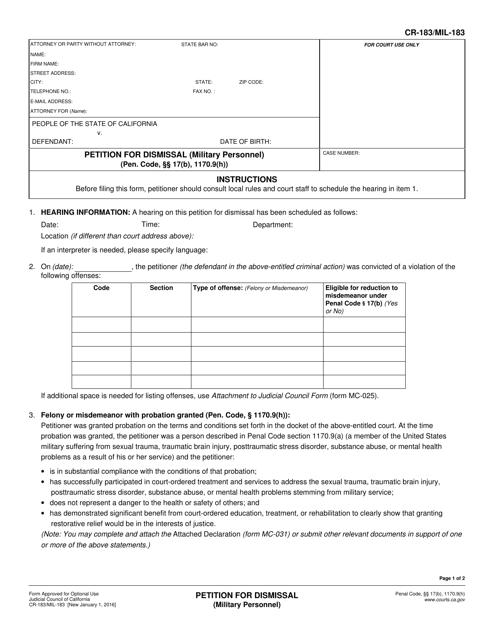 Form CR-183 (MIL-183)  Printable Pdf