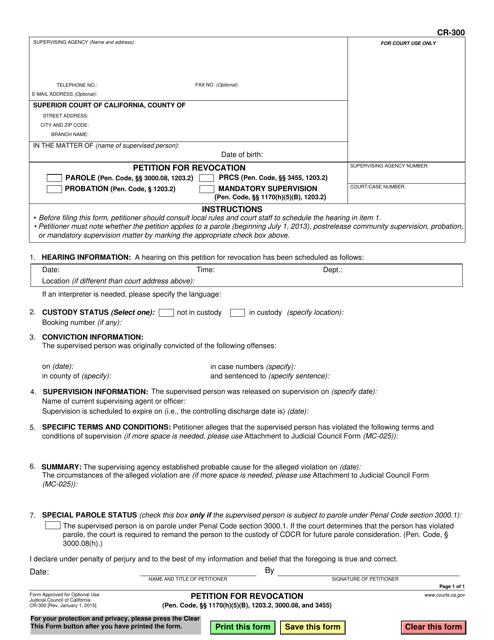 Form CR-300  Printable Pdf