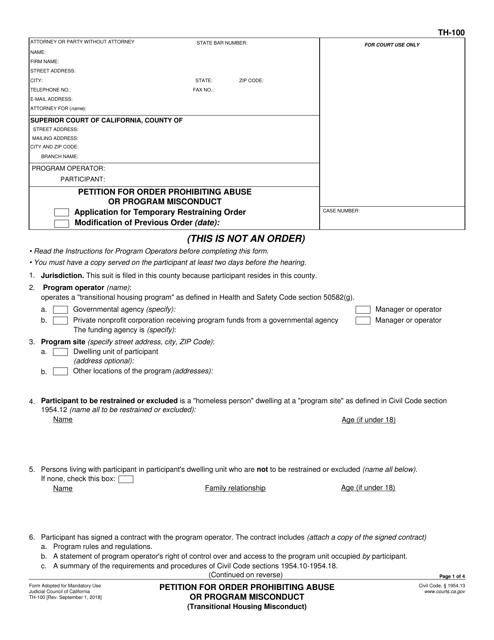 Form TH-100  Printable Pdf