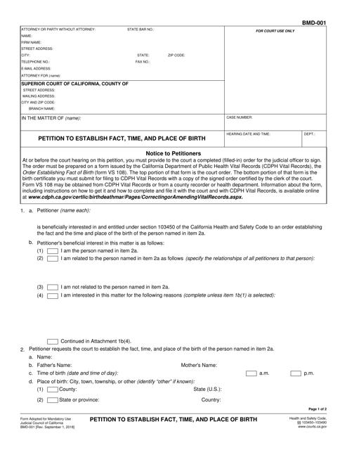 Form BMD-001  Printable Pdf