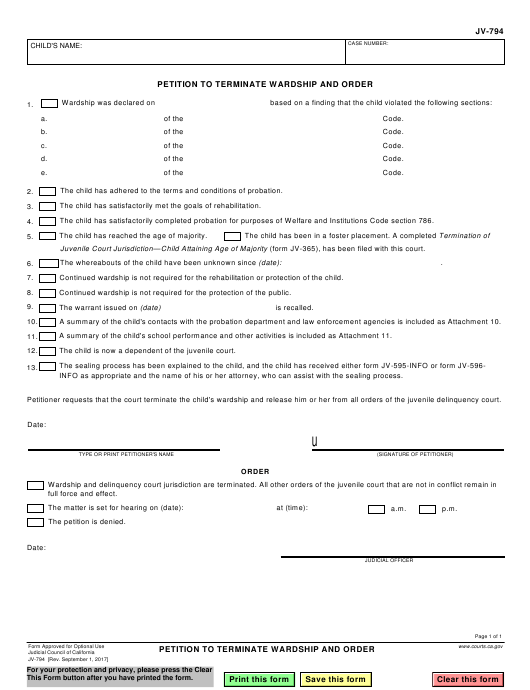 Form JV-794  Printable Pdf