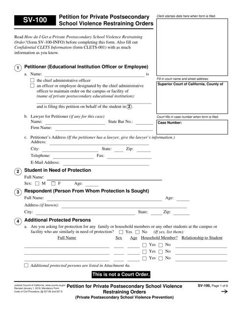 Form SV-100  Printable Pdf