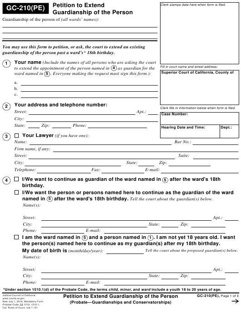 Form GC-210(PE)  Printable Pdf
