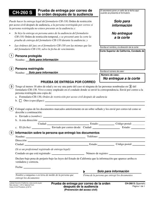Formulario CH-260 S  Printable Pdf