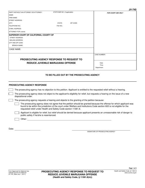 Form JV-745  Printable Pdf