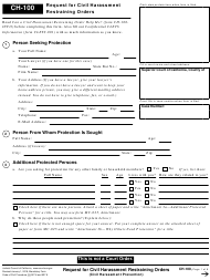 "Form CH-100 ""Request for Civil Harassment Restraining Orders"" - California"