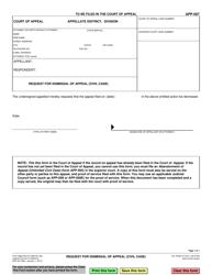 "Form APP-007 ""Request for Dismissal of Appeal (Civil Case)"" - California"