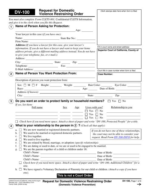 Form DV-100  Printable Pdf