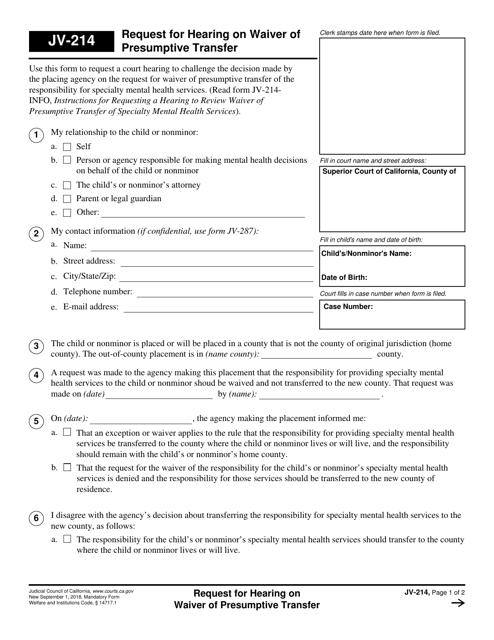 Form JV-214  Printable Pdf