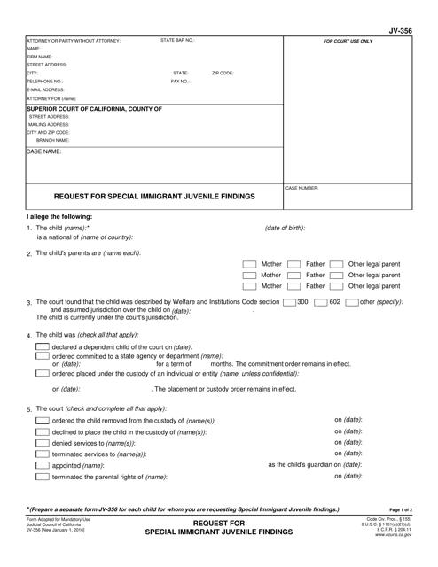 Form JV-356  Printable Pdf