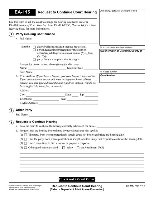 Form EA-115 Printable Pdf