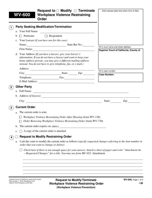 Form WV-600 Fillable Pdf