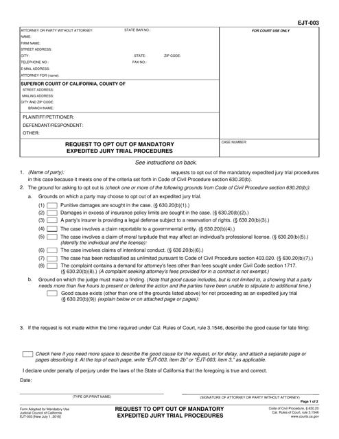 Form EJT-003  Printable Pdf