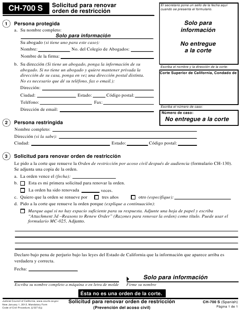 Formulario CH-700 S  Printable Pdf