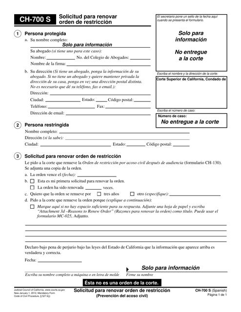 Form CH-700 S Printable Pdf