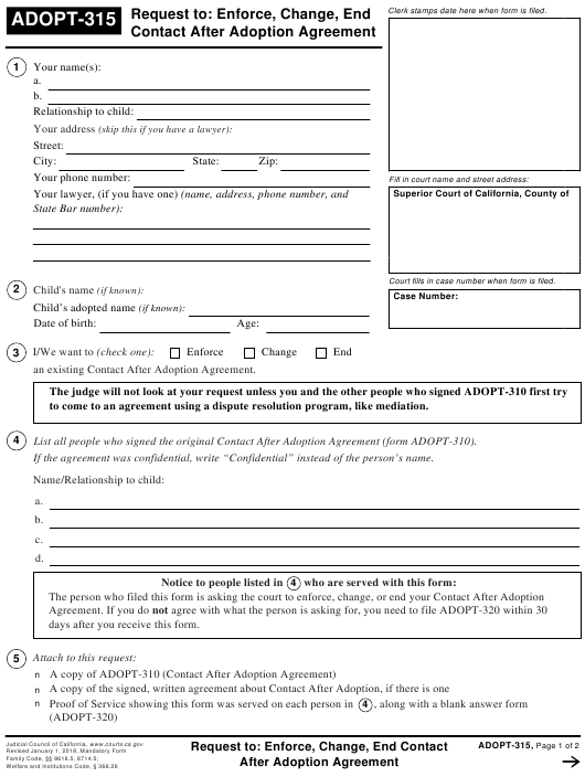 Form ADOPT-315 Fillable Pdf