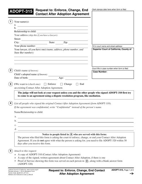 Form ADOPT-315 Printable Pdf