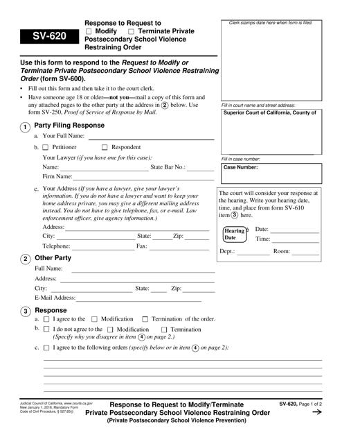 Form SV-620  Printable Pdf