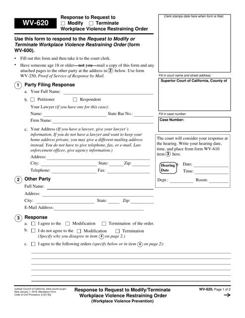 Form WV-620  Printable Pdf
