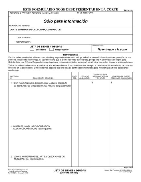 Formulario FL-142 S  Printable Pdf