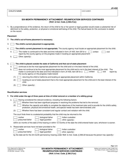 Form JV-432  Printable Pdf