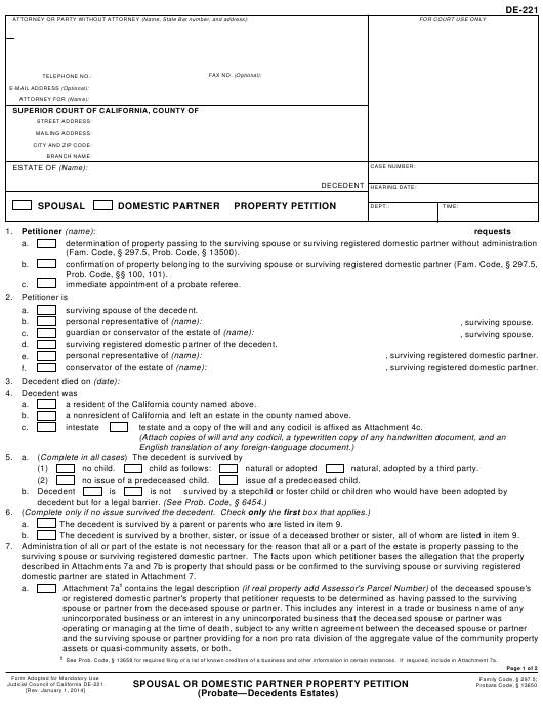 Form DE-221  Printable Pdf