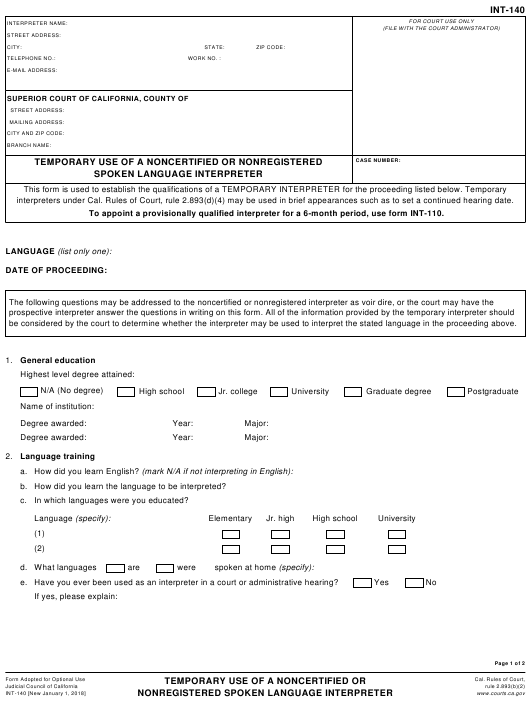 Form INT-140  Printable Pdf