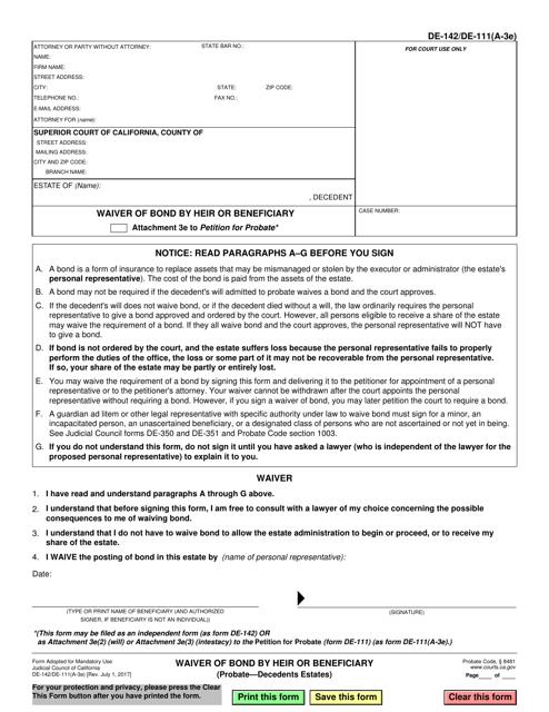 Form DE-142  Printable Pdf