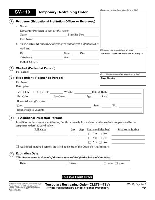 Form SV-110  Printable Pdf