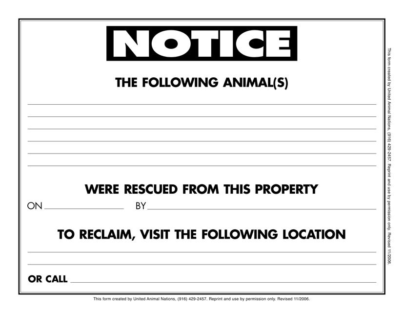 """""""Rescue Notice Form"""" - Alabama Download Pdf"""