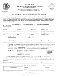 """Application for Private Applicator Permit"" - Alabama"