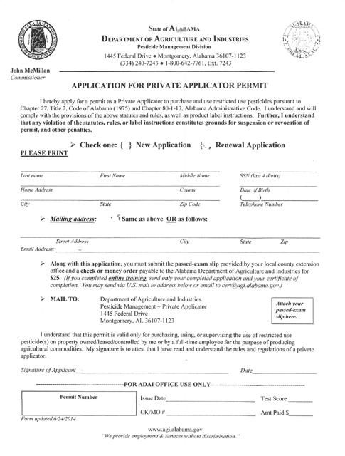 """Application for Private Applicator Permit"" - Alabama Download Pdf"