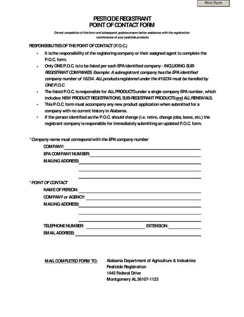 """Pesticide Registrant Point of Contact Form"" - Alabama Download Pdf"
