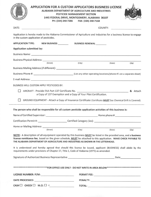 """Application for a Custom Applicators Business License"" - Alabama Download Pdf"