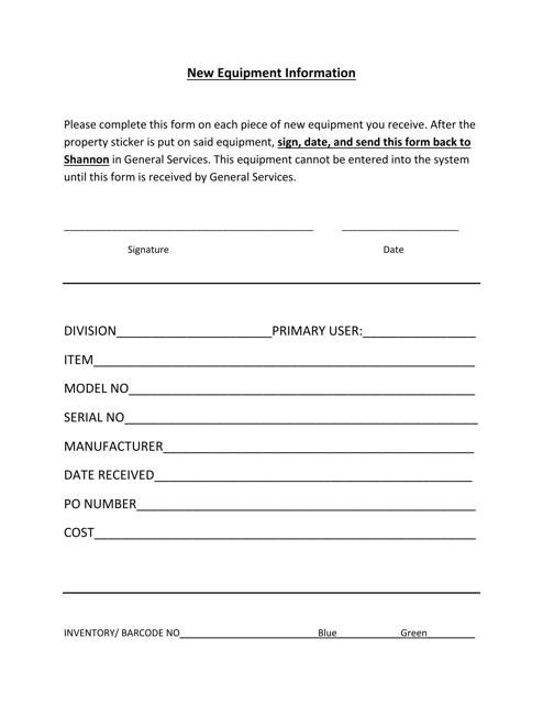 """New Equipment Information Form"" - Alabama Download Pdf"