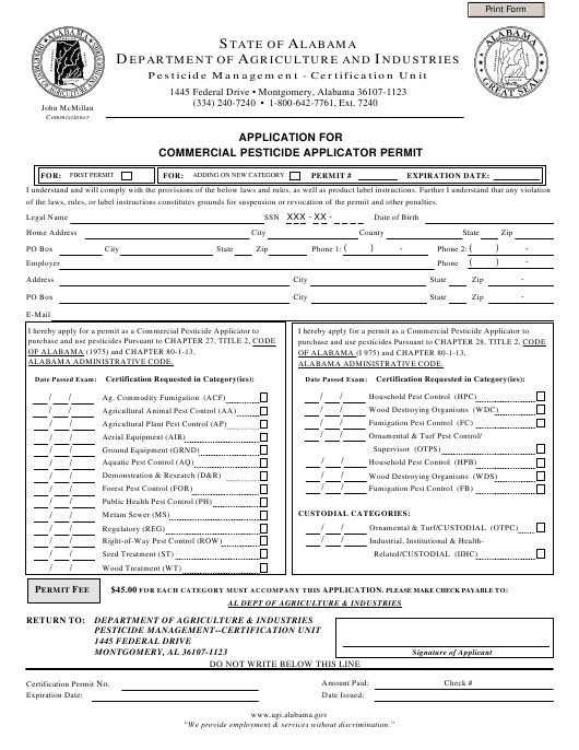 """""""Application for Commercial Pesticide Applicator Permit (First Permit and Add-On)"""" - Alabama Download Pdf"""