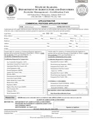 Application for Commercial Pesticide Applicator Permit (Renewal) - Alabama