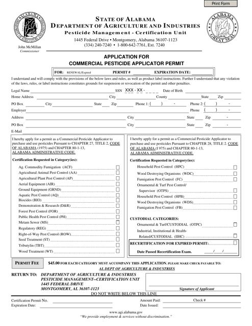 """Application for Commercial Pesticide Applicator Permit (Renewal)"" - Alabama Download Pdf"