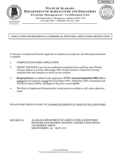 """Application for Reciprocal Commercial Pesticide Applicator Certification"" - Alabama Download Pdf"
