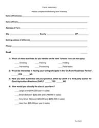 Farm Inventory Survey Form - Alabama