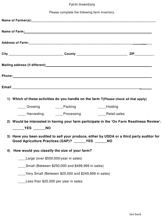 """Farm Inventory Survey Form"" - Alabama Download Pdf"